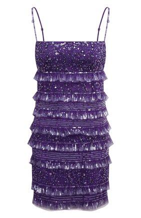 Женское платье с пайетками VALENTINO фиолетового цвета, арт. WB3VAWV51ED   Фото 1 (Материал подклада: Вискоза; Длина Ж (юбки, платья, шорты): Мини; Материал внешний: Синтетический материал; Стили: Гламурный; Женское Кросс-КТ: Платье-одежда; Случай: Коктейльный)