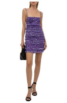 Женское платье с пайетками VALENTINO фиолетового цвета, арт. WB3VAWV51ED   Фото 2 (Материал подклада: Вискоза; Длина Ж (юбки, платья, шорты): Мини; Материал внешний: Синтетический материал; Стили: Гламурный; Женское Кросс-КТ: Платье-одежда; Случай: Коктейльный)