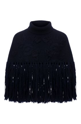 Женская шерстяное пончо VALENTINO синего цвета, арт. WB3KU01D6MY | Фото 1 (Материал внешний: Шерсть; Длина (верхняя одежда): Короткие; Стили: Кэжуэл)