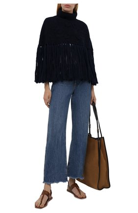 Женская шерстяное пончо VALENTINO синего цвета, арт. WB3KU01D6MY | Фото 2 (Материал внешний: Шерсть; Длина (верхняя одежда): Короткие; Стили: Кэжуэл)
