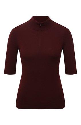 Женский шерстяной пуловер VALENTINO бордового цвета, арт. WB3KC25J6MV | Фото 1 (Материал внешний: Шерсть; Рукава: 3/4; Длина (для топов): Стандартные; Женское Кросс-КТ: Пуловер-одежда; Стили: Кэжуэл)