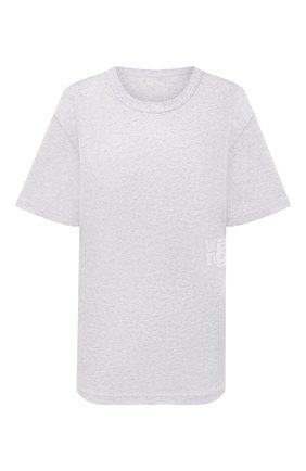 Женская хлопковая футболка ALEXANDERWANG.T светло-серого цвета, арт. 4CC3211281 | Фото 1