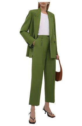 Женские брюки ACNE STUDIOS зеленого цвета, арт. AK0414   Фото 2 (Материал внешний: Шерсть, Синтетический материал; Длина (брюки, джинсы): Стандартные; Женское Кросс-КТ: Брюки-одежда; Стили: Кэжуэл; Силуэт Ж (брюки и джинсы): Прямые)