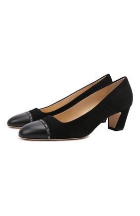 Женские замшевые туфли straits 50 JIMMY CHOO черного цвета, арт. STRAITS 50/WQL   Фото 1 (Материал внутренний: Натуральная кожа; Подошва: Плоская; Каблук высота: Низкий; Каблук тип: Устойчивый; Материал внешний: Замша)