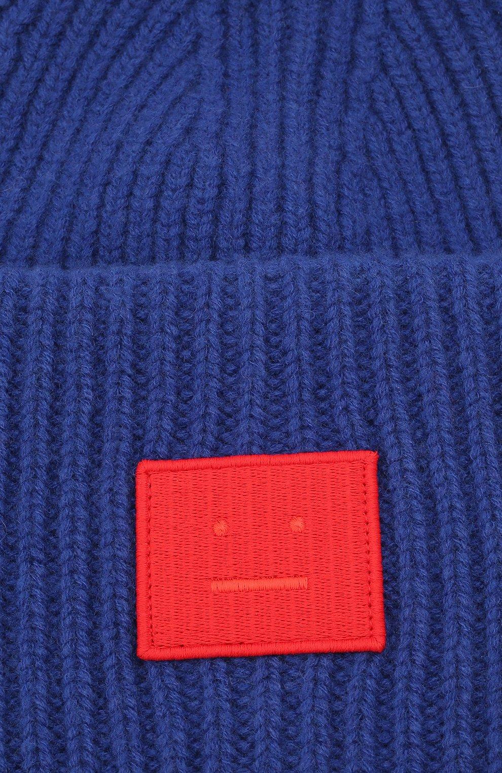 Мужская шерстяная шапка ACNE STUDIOS синего цвета, арт. C40135/M | Фото 3 (Материал: Шерсть; Кросс-КТ: Трикотаж)