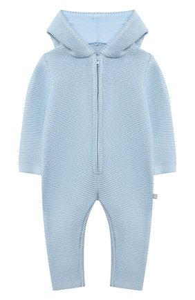 Детского хлопковый комбинезон STELLA MCCARTNEY голубого цвета, арт. 603416/SRM10/9M | Фото 1 (Рукава: Длинные; Материал внешний: Хлопок)
