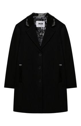 Детское шерстяное пальто MSGM KIDS черного цвета, арт. MS027797 | Фото 1