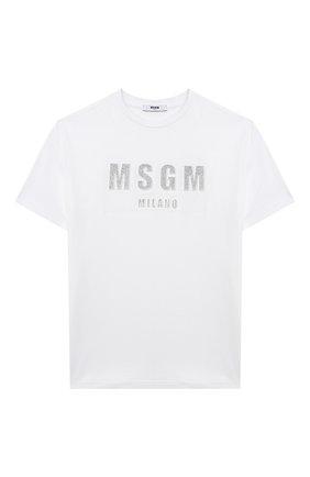 Детская хлопковая футболка MSGM KIDS белого цвета, арт. MS027706 | Фото 1