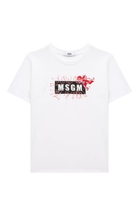 Детская хлопковая футболка MSGM KIDS белого цвета, арт. MS027780 | Фото 1