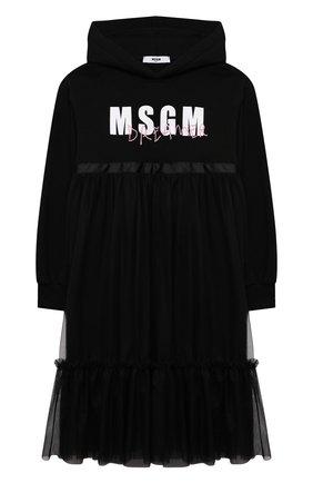 Детское хлопковое платье MSGM KIDS черного цвета, арт. MS027817 | Фото 1