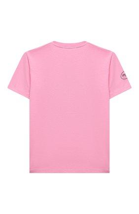 Детская хлопковая футболка MSGM KIDS розового цвета, арт. MS027825 | Фото 2