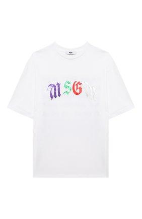 Детская хлопковая футболка MSGM KIDS белого цвета, арт. MS027940 | Фото 1
