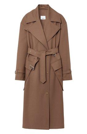 Женское шерстяное пальто BURBERRY коричневого цвета, арт. 8038930/116208 | Фото 1