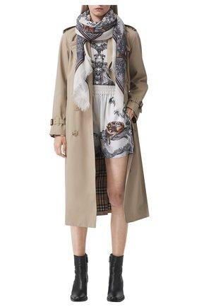 Женский кашемировый платок BURBERRY серого цвета, арт. 8042056/117375 | Фото 2