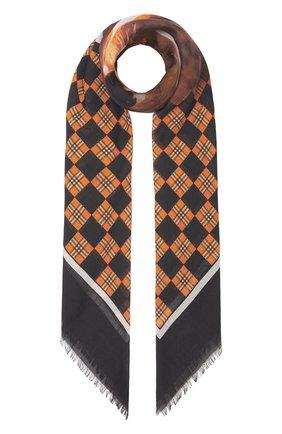 Женский платок из шелка и шерсти BURBERRY коричневого цвета, арт. 8042062/124568 | Фото 1