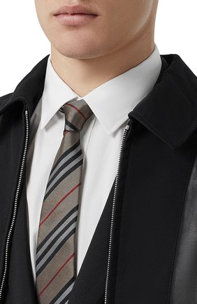 Мужской шелковый галстук BURBERRY бежевого цвета, арт. 8011694/112654 | Фото 2