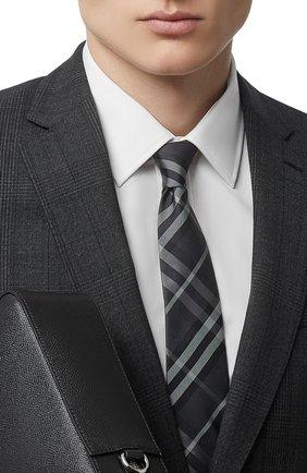 Мужской шелковый галстук BURBERRY темно-серого цвета, арт. 8017265/105301 | Фото 2