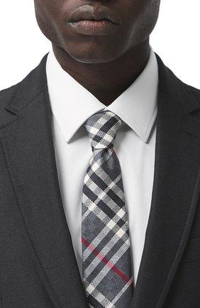 Мужской шелковый галстук BURBERRY серого цвета, арт. 8041570/127881 | Фото 2