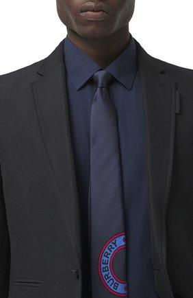 Мужской шелковый галстук BURBERRY темно-синего цвета, арт. 8042010/128013 | Фото 2