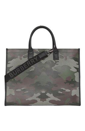 Мужская текстильная сумка-шопер BURBERRY хаки цвета, арт. 8042082/112818 | Фото 1