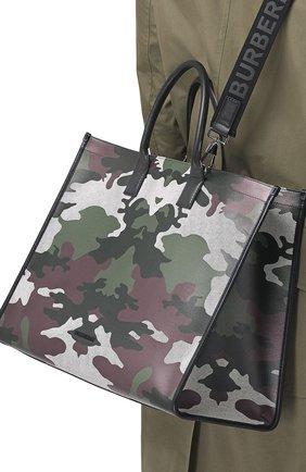 Мужская текстильная сумка-шопер BURBERRY хаки цвета, арт. 8042082/112818 | Фото 2