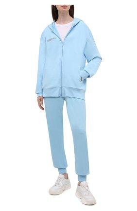 Мужского хлопковый кардиган PANGAIA голубого цвета, арт. 20FZHM01-010-FE0R01 | Фото 2 (Стили: Спорт-шик; Женское Кросс-КТ: Кардиган-одежда)