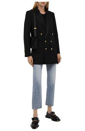 Женские кожаные лоферы BALMAIN черного цвета, арт. WN1UQ675/LVIT   Фото 2