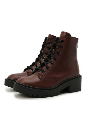 Женские кожаные ботинки pike KENZO темно-коричневого цвета, арт. FB62BT341L55 | Фото 1 (Материал утеплителя: Натуральный мех; Каблук высота: Низкий; Подошва: Платформа; Каблук тип: Устойчивый; Женское Кросс-КТ: Военные ботинки)