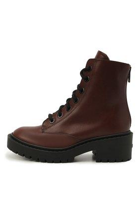 Женские кожаные ботинки pike KENZO темно-коричневого цвета, арт. FB62BT341L55 | Фото 2 (Материал утеплителя: Натуральный мех; Каблук высота: Низкий; Подошва: Платформа; Каблук тип: Устойчивый; Женское Кросс-КТ: Военные ботинки)