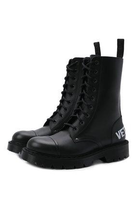 Женские кожаные ботинки VETEMENTS черно-белого цвета, арт. UA52B0200B 2414/W | Фото 1 (Подошва: Платформа; Каблук высота: Низкий; Женское Кросс-КТ: Военные ботинки; Материал внутренний: Натуральная кожа)