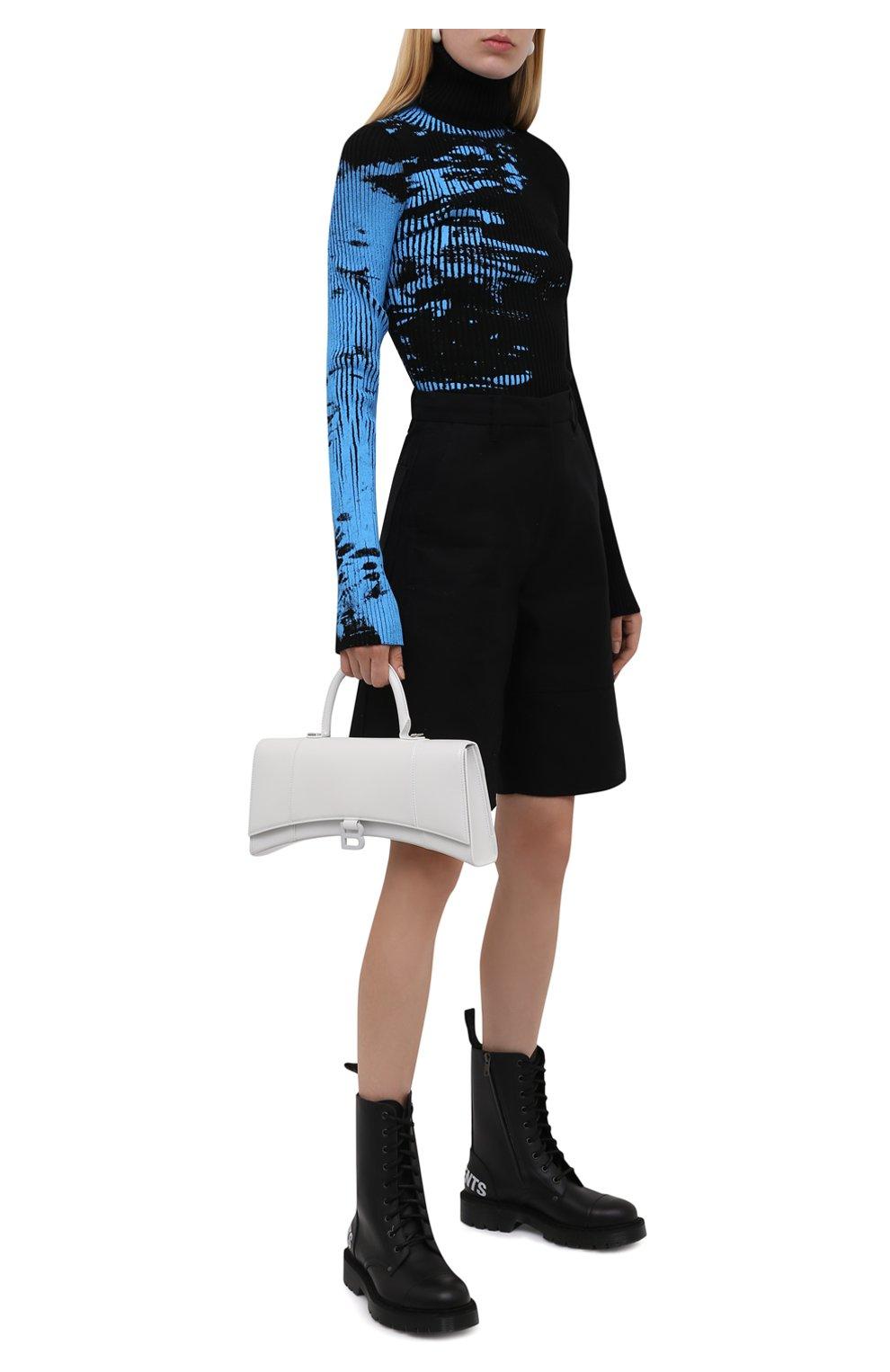 Женские кожаные ботинки VETEMENTS черно-белого цвета, арт. UA52B0200B 2414/W | Фото 2 (Подошва: Платформа; Каблук высота: Низкий; Женское Кросс-КТ: Военные ботинки; Материал внутренний: Натуральная кожа)