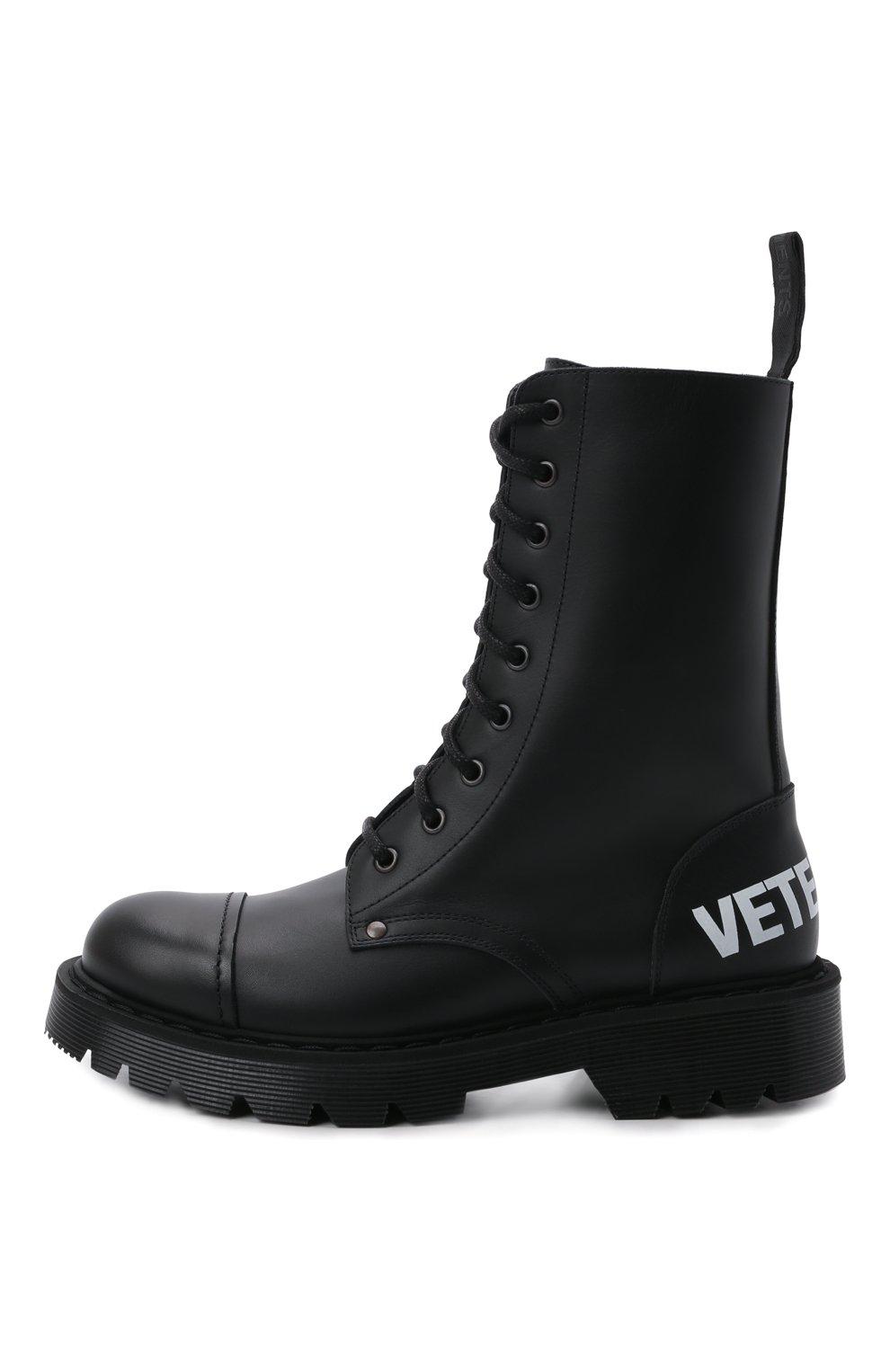 Женские кожаные ботинки VETEMENTS черно-белого цвета, арт. UA52B0200B 2414/W | Фото 3 (Подошва: Платформа; Каблук высота: Низкий; Женское Кросс-КТ: Военные ботинки; Материал внутренний: Натуральная кожа)