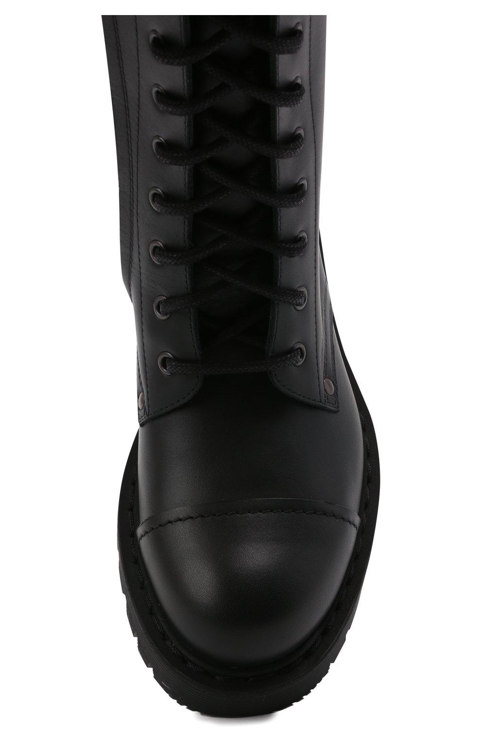 Женские кожаные ботинки VETEMENTS черно-белого цвета, арт. UA52B0200B 2414/W | Фото 5 (Подошва: Платформа; Каблук высота: Низкий; Женское Кросс-КТ: Военные ботинки; Материал внутренний: Натуральная кожа)
