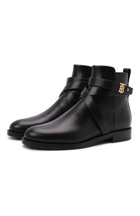 Женские кожаные ботинки new pryle BURBERRY черного цвета, арт. 8042370 | Фото 1 (Материал внутренний: Натуральная кожа; Подошва: Плоская; Каблук высота: Низкий)