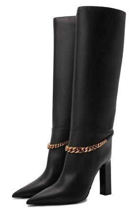 Женские кожаные сапоги la medusa VERSACE черного цвета, арт. 1000817/1A00673 | Фото 1 (Каблук высота: Высокий; Высота голенища: Средние; Подошва: Плоская; Материал внутренний: Натуральная кожа; Каблук тип: Устойчивый)