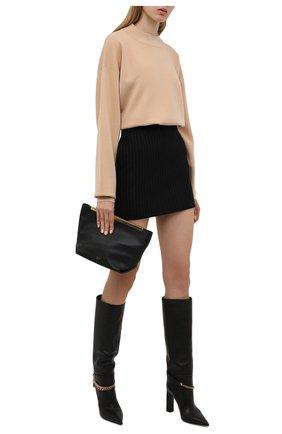 Женские кожаные сапоги la medusa VERSACE черного цвета, арт. 1000817/1A00673 | Фото 2 (Каблук высота: Высокий; Высота голенища: Средние; Подошва: Плоская; Материал внутренний: Натуральная кожа; Каблук тип: Устойчивый)