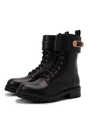 Женские кожаные ботинки VERSACE черного цвета, арт. DST419E/DVTA3 | Фото 1 (Материал внутренний: Натуральная кожа; Подошва: Плоская, Платформа; Женское Кросс-КТ: Военные ботинки; Каблук высота: Низкий)