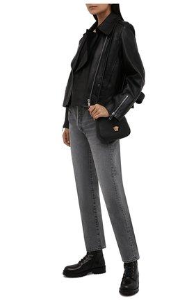 Женские кожаные ботинки VERSACE черного цвета, арт. DST419E/DVTA3 | Фото 2 (Материал внутренний: Натуральная кожа; Подошва: Плоская, Платформа; Женское Кросс-КТ: Военные ботинки; Каблук высота: Низкий)
