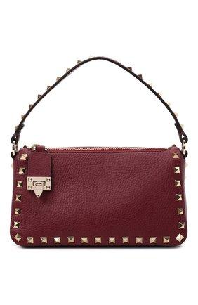 Женская сумка rockstud VALENTINO бордового цвета, арт. WW2B0J47/VSF | Фото 1 (Материал: Натуральная кожа; Сумки-технические: Сумки top-handle; Размер: small; Ремень/цепочка: На ремешке)