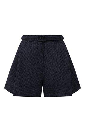 Женские шерстяные шорты VALENTINO синего цвета, арт. WB3RF1R56JK | Фото 1 (Длина Ж (юбки, платья, шорты): Мини; Материал внешний: Шерсть; Стили: Гламурный; Женское Кросс-КТ: Шорты-одежда)