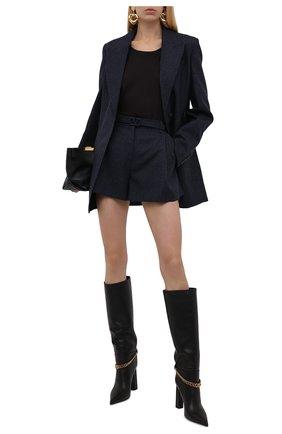 Женские шерстяные шорты VALENTINO синего цвета, арт. WB3RF1R56JK | Фото 2 (Длина Ж (юбки, платья, шорты): Мини; Материал внешний: Шерсть; Стили: Гламурный; Женское Кросс-КТ: Шорты-одежда)