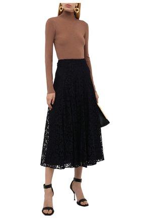 Женская юбка из вискозы и хлопка VALENTINO синего цвета, арт. WB3RA7W01EC   Фото 2 (Материал подклада: Вискоза; Материал внешний: Вискоза, Хлопок; Длина Ж (юбки, платья, шорты): Миди; Стили: Гламурный; Женское Кросс-КТ: Юбка-одежда)