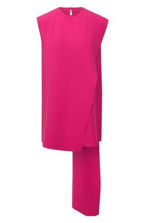 Женский шелковый топ VALENTINO фуксия цвета, арт. WB3AE6A51MM   Фото 1 (Длина (для топов): Удлиненные; Материал внешний: Шелк; Стили: Романтичный; Кросс-КТ: без рукавов)