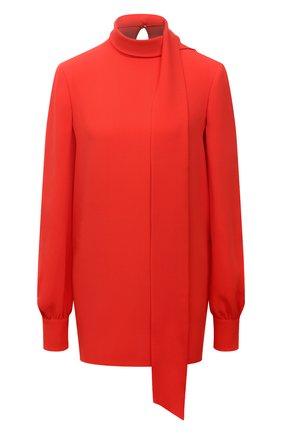 Женская шелковая блузка VALENTINO оранжевого цвета, арт. WB3AE6351MM   Фото 1 (Рукава: Длинные; Длина (для топов): Удлиненные; Материал внешний: Шелк; Стили: Романтичный; Принт: Без принта; Женское Кросс-КТ: Блуза-одежда)