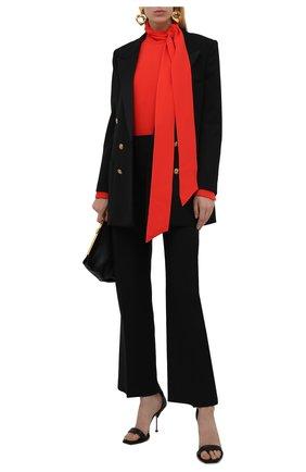 Женская шелковая блузка VALENTINO оранжевого цвета, арт. WB3AE6351MM   Фото 2 (Рукава: Длинные; Длина (для топов): Удлиненные; Материал внешний: Шелк; Стили: Романтичный; Принт: Без принта; Женское Кросс-КТ: Блуза-одежда)