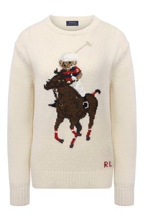 Женский свитер из шерсти и кашемира POLO RALPH LAUREN кремвого цвета, арт. 211843149 | Фото 1