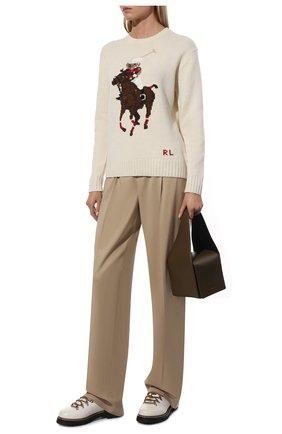 Женский свитер из шерсти и кашемира POLO RALPH LAUREN кремвого цвета, арт. 211843149 | Фото 2