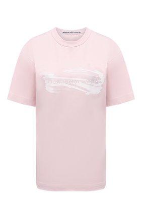 Женская хлопковая футболка ALEXANDER WANG розового цвета, арт. UCC3211443   Фото 1