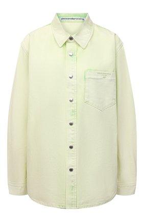 Женская джинсовая рубашка ALEXANDER WANG зеленого цвета, арт. UDC3212993   Фото 1
