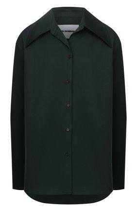 Женская шерстяная рубашка JIL SANDER темно-зеленого цвета, арт. JSPT602605-WT202500 | Фото 1 (Материал внешний: Шерсть; Рукава: Длинные; Длина (для топов): Удлиненные; Стили: Минимализм; Принт: Без принта; Женское Кросс-КТ: Рубашка-одежда)